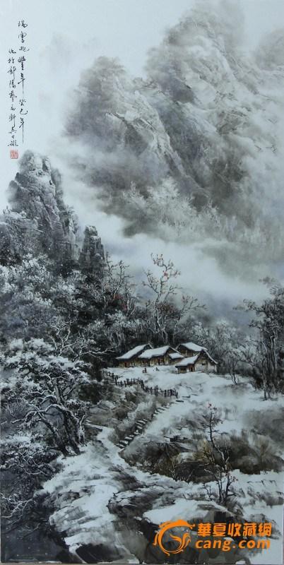 山水画,取法自然,笔墨流畅,大气磅礴,独具新意,创造了清新高旷的风格.