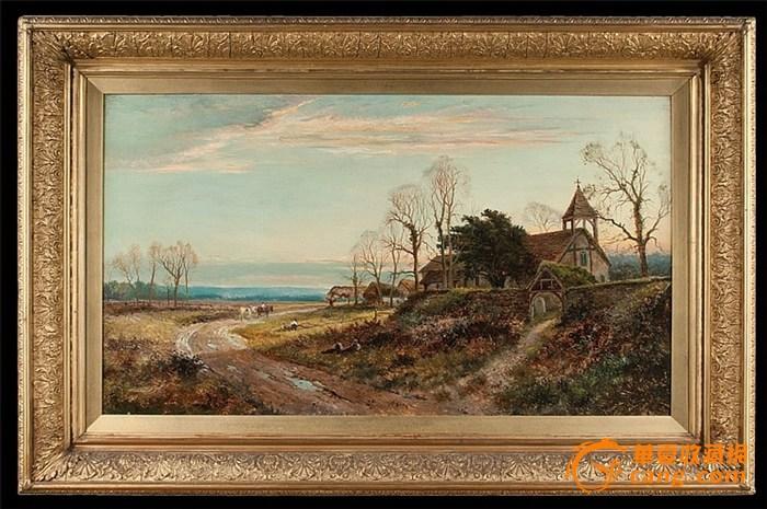 19世纪英国著名风景画家Daniel Sherrin油画作品