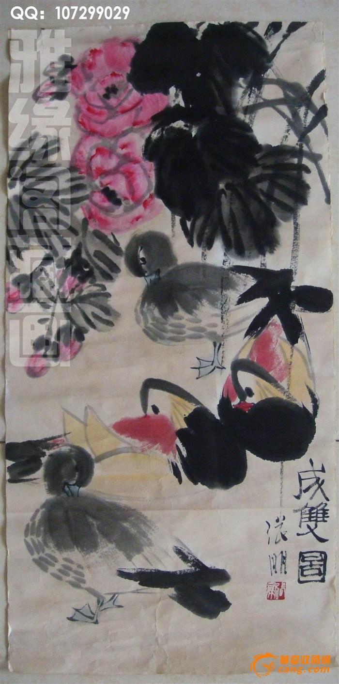 义元斋 国画写意花鸟 义元斋 人物创作 湘野一叶风  此画尺寸长70宽35