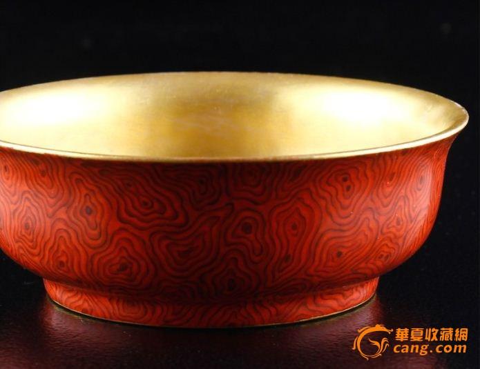 乾隆仿木纹鎏金碗