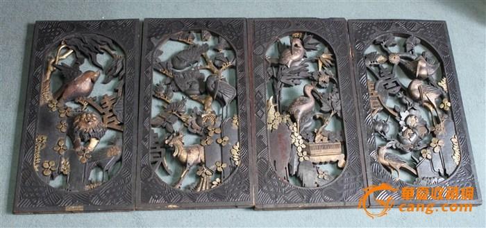 高浮雕动物花鸟雕花板四片
