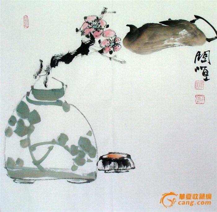 问恒水墨写意斗方花鸟画 茶花花瓶图片