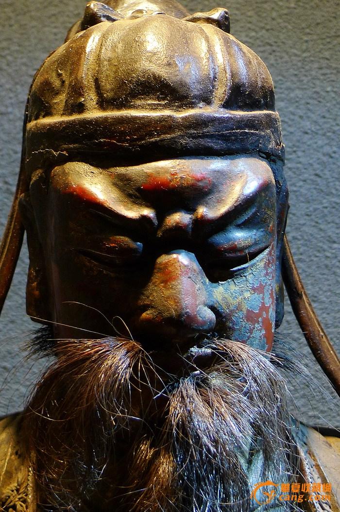 明代木雕沥粉髹彩关公像