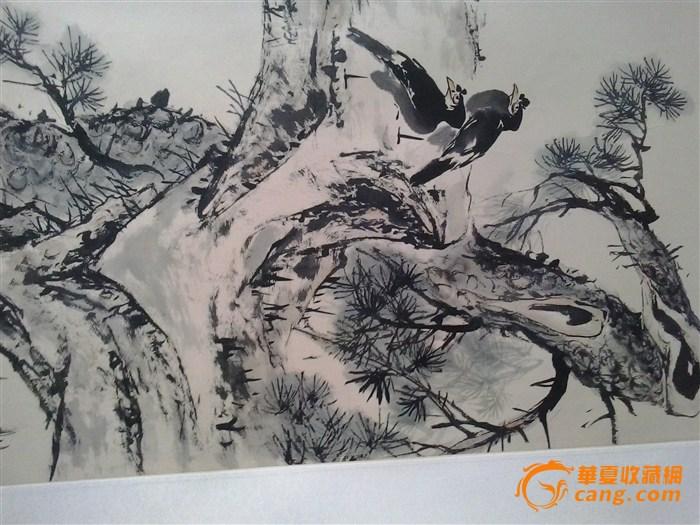 胡润芝国画松树八哥图