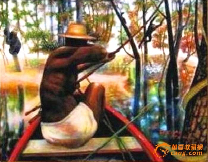 油画【热带雨林中的猎人】72.7×60.6cm