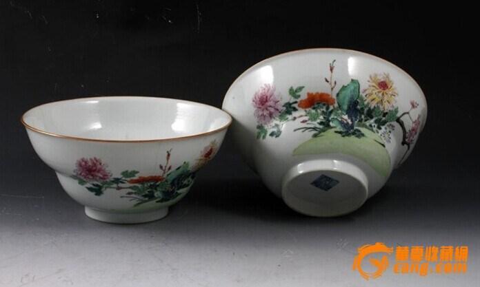 清乾隆 粉彩 花卉纹 折腰 大碗 (一对),19.5厘米。