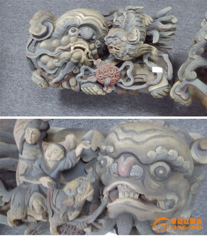 矿物彩木雕 太狮座一对