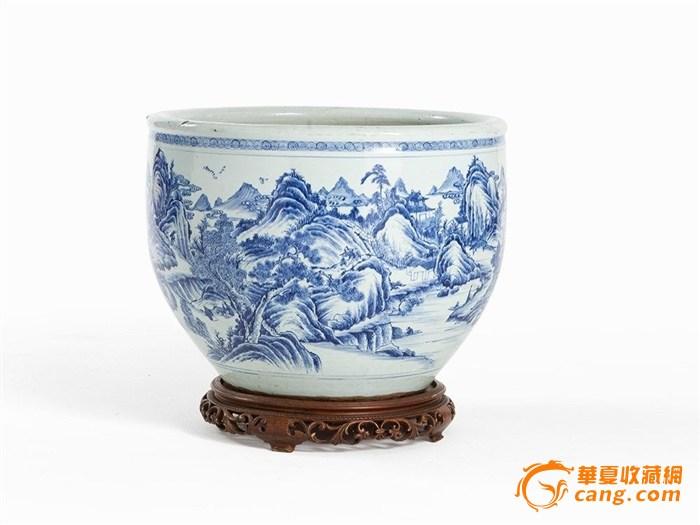 好瓷 琳琅阁珍藏 - 清早期 青花山水景致纹大卷缸