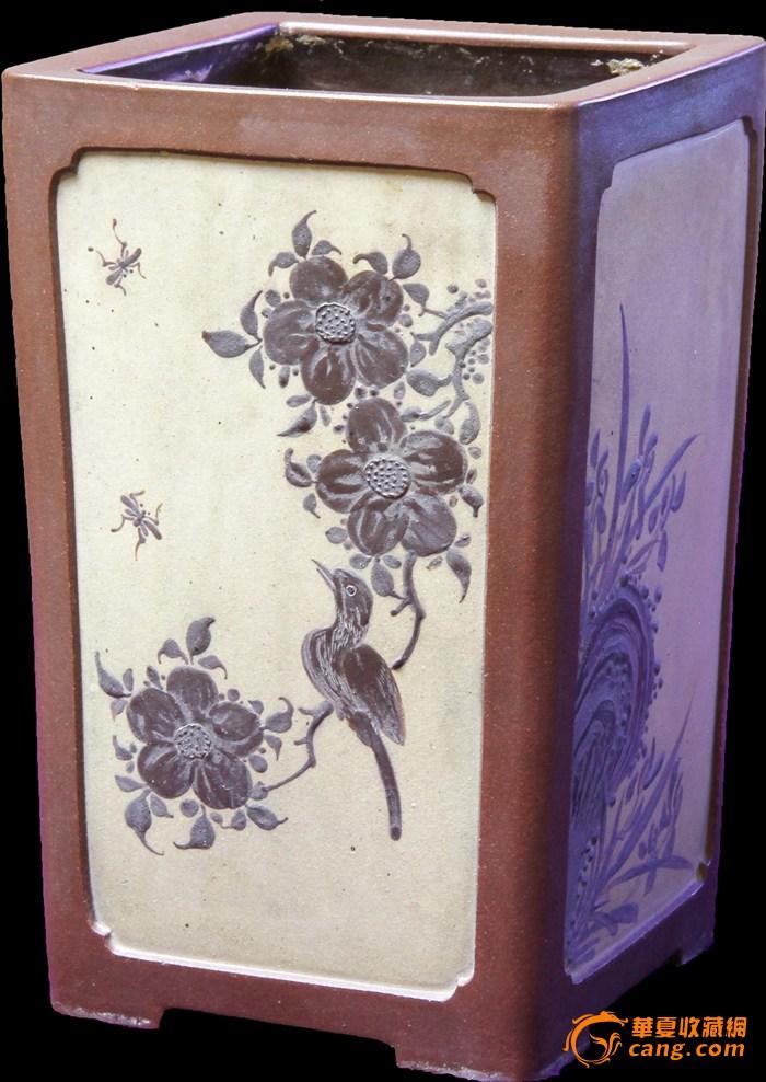 此花盆立体(浮雕感)绘画颜料虽为单一材料(单色)但花鸟虫唯妙唯俏