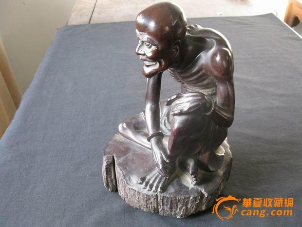 【木雕】老木雕瘦骨罗汉佛像