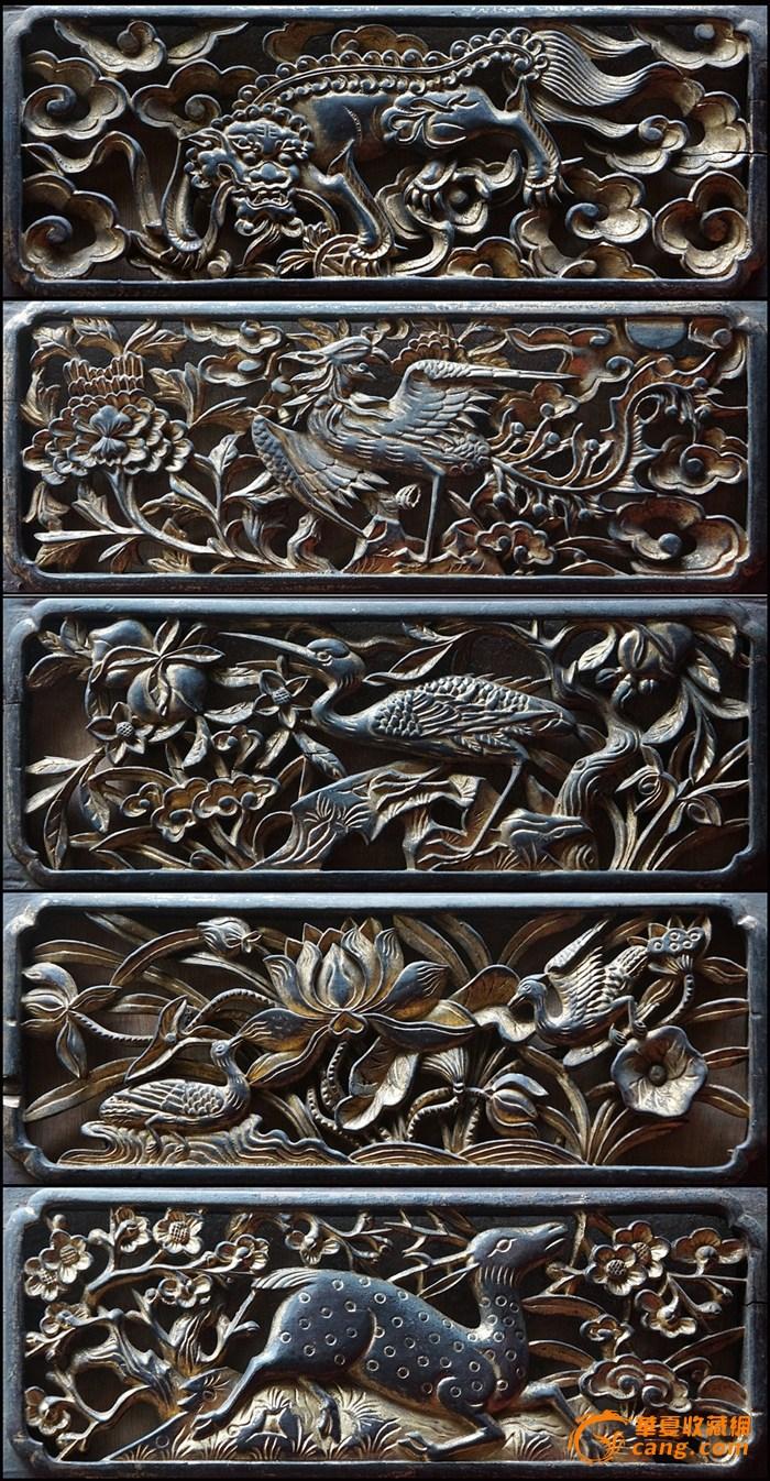 十分精美的清代民间木雕五片