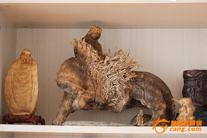 木雕赛宝名家竹根雕~~~美女与野兽利爪山魅