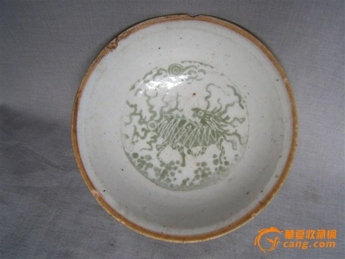 [赛文]元代卵白釉釉上绿彩手绘麒麟逃火纹碗