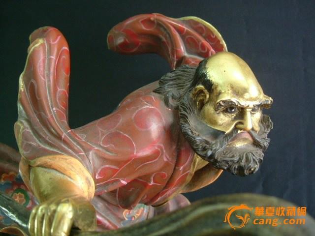 【人物】清、精铜鎏金彩绘 达摩祖师《一苇渡江造像》