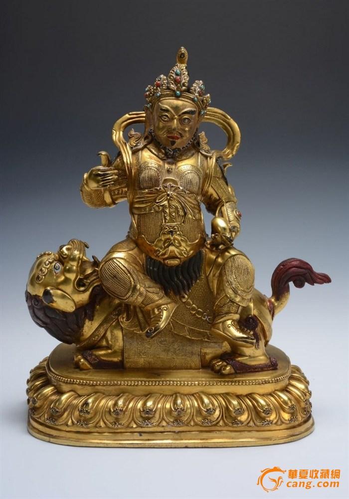 明代铜鎏金嵌宝财神天王造像