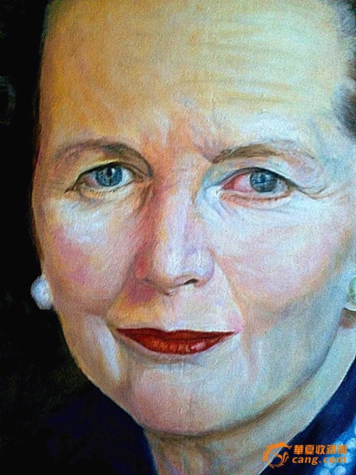 《撒切尔图片》肖像画(图片油画,120*80)_《撒手工步骤夫人剪纸大全布面方法图片