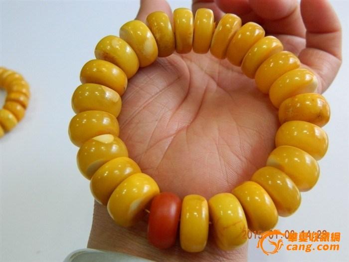 鸡油黄天然蜜蜡手串 图2 高清图片